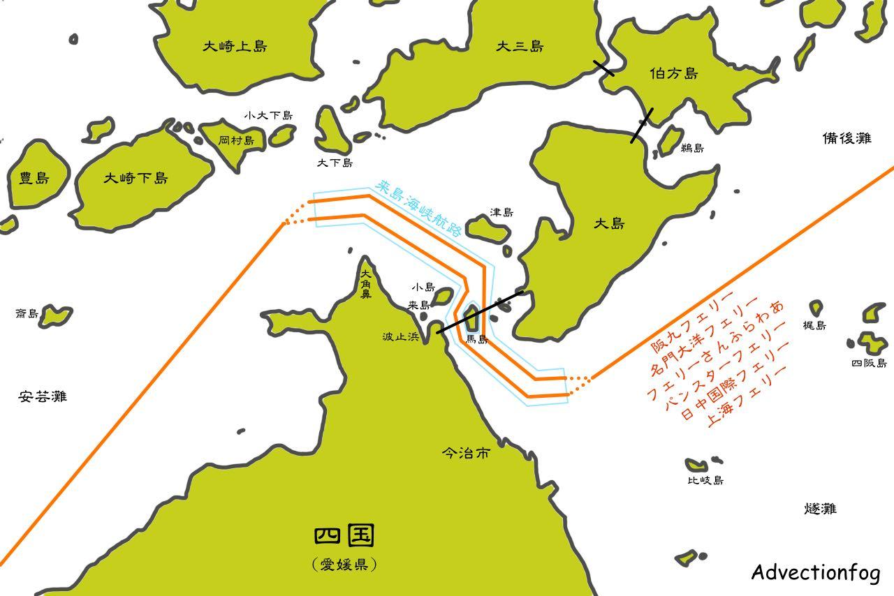 来島海峡[Advectionfog]